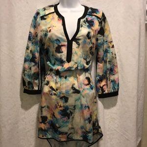 Parker LS multi color V neck dress
